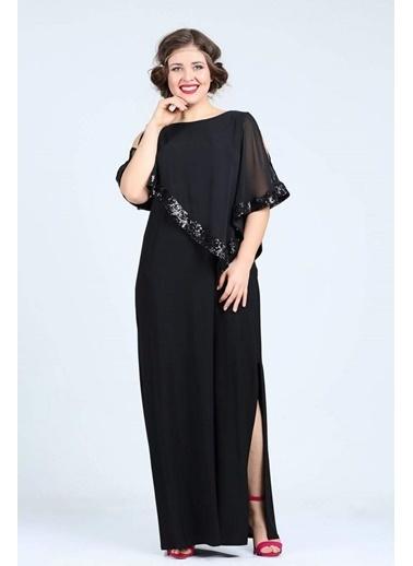 Angelino Butik Büyük Beden Kadın Uzun Abiye Elbise KL8022U Siyah